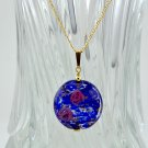 Genuine Murano (Italy) Dark Blue Gold Filled Pendant and Earrings Set
