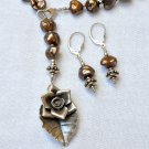 OOAK Freshwater Pearls Necklace with Thai Hill Tribe Silver Pendant and earrings set