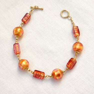 OOAK Bracelet Genuine Murano Glass Gold Filled