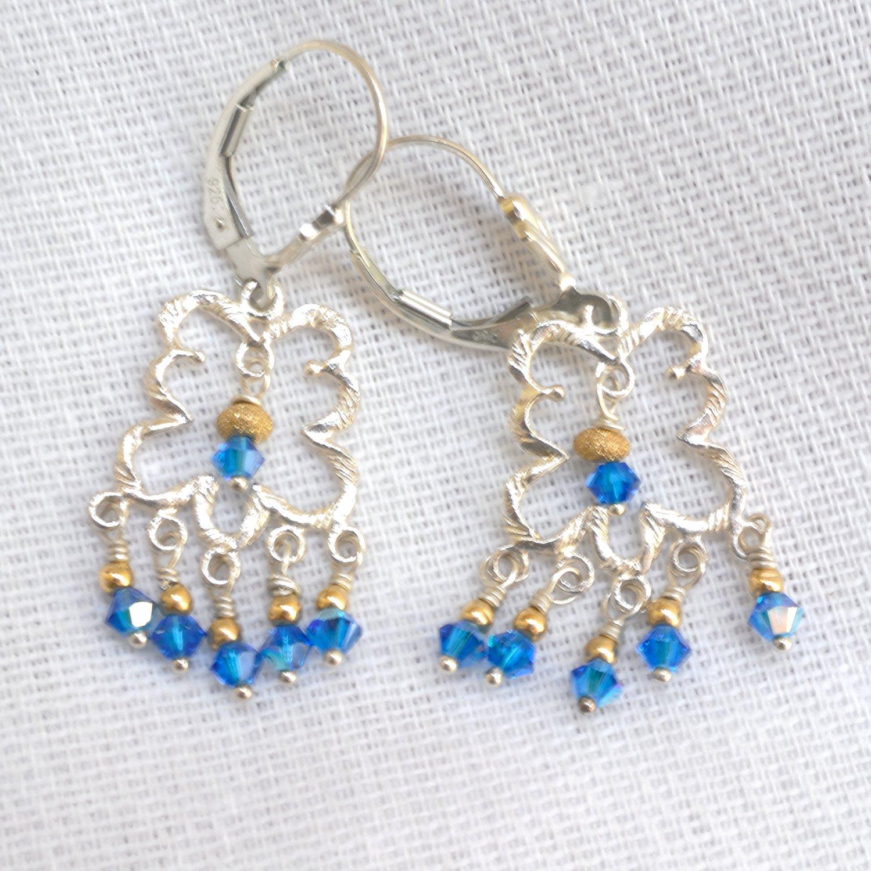 Swarovski Crystals Chandelier Sterling Silver Leverback Earring