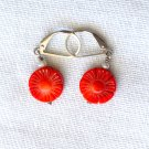 Coral Carved Sterling Silver Leverback Earring