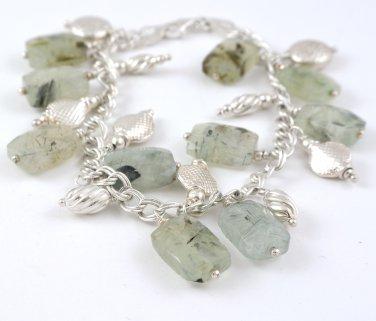 Tourmalinated Quartz Sterling Silver Charm Bracelet