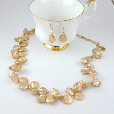 Keshi Pearls Necklace and Earring Set Gold Filled