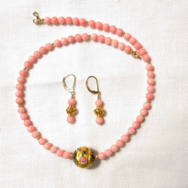 OOAK Coral and Genuine Murano Glass Necklace Earrings set Gold Filled