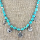 OOAK Turquoise and Sterling Silver Charm Necklace