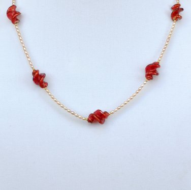 OOAK Necklace and Earrings Set Freshwater Pearl Genuine Murano Glass Gold Filled
