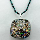 Necklace and Pendant Black Onyx, Turquoise and Genuine Murano Glass Sterling Silver