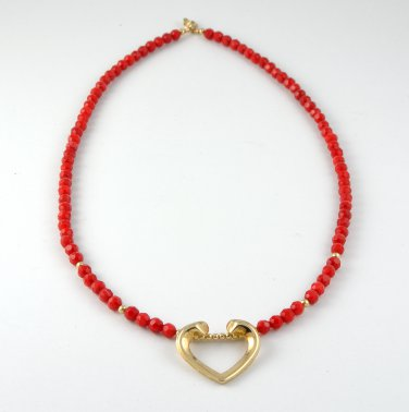 Red Coral and Gold Filled Necklace