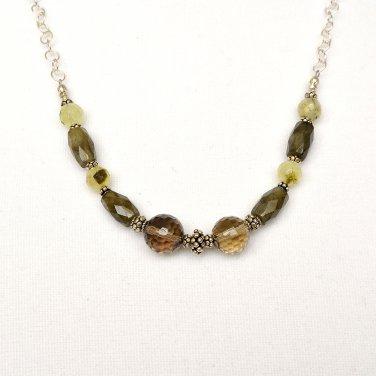 Smoky Quartz, Labradorite, Turmalinated Quartz Sterling Silver Chain Necklace