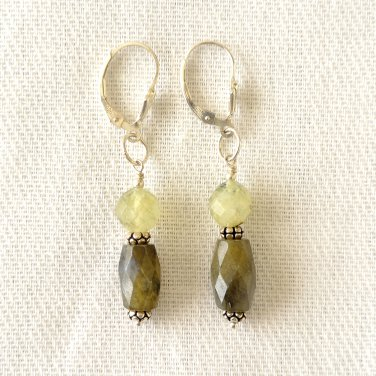 Sterling Silver Labradorite and Turmalinated Quartz Earrings