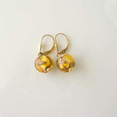 Genuine Murano Glass Gold Filled Leverback Earrings
