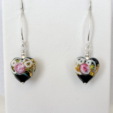 Genuine Murano (Italy) Glass Earrings Sterling Silver