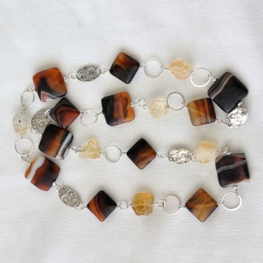 Agate, Citrine and Hammered Sterling Silver Neclace and Earrings Set