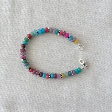 Multi-color Jade and Sterling Siver Bracelet