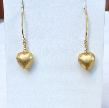 Heart Brushed Vermeil Gold Filled Earrings