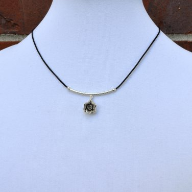Hill Tribe silver Rose Pendant with Sterling Silver and  Black Leather Necklace