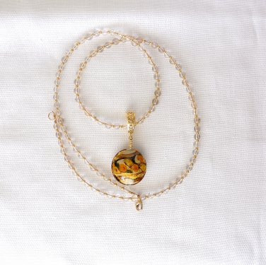 Genuine Murano Glass Pendant and Quartz Gold Filled Necklace