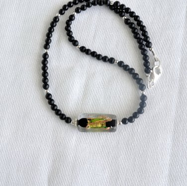 Black Onyx and Genuine Murano Glass Sterling Silver Necklace
