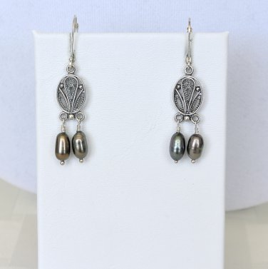 Sterling Silver and Freshwater Pearls Leverback Earrings