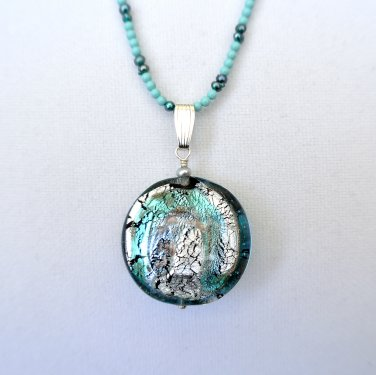 Genuine Murano Glass Pendant and Turquoise/Pearls Necklace Sterling Silver