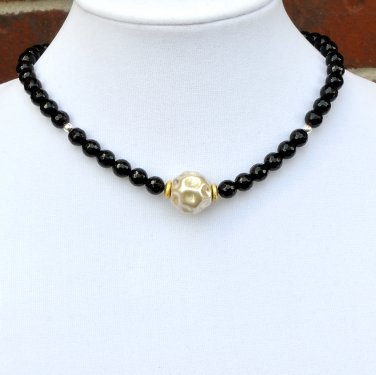 Black Onyx Bali and Sterling Silver Necklace