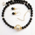 Black Onyx Bali and Sterling Silver Necklace and Earrings Set