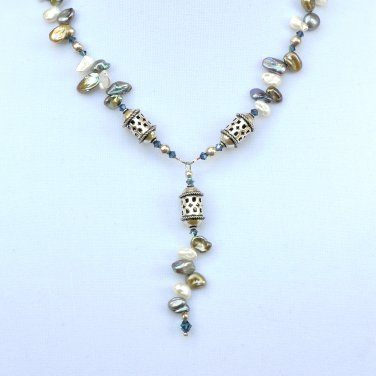 OOAK Keshi Pearls with Swarivski Crystals and Bali Silver necklace set