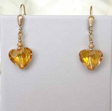Swarovski Crystals Gold Filled Leverback Earrings