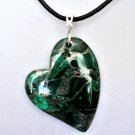 Malachite Heart Pendant and Leather Necklace in Sterling Silver