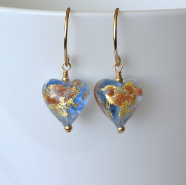 Beautiful one-of-a-kind Murano (Italy) glass earrings in Gold Filled Handmade