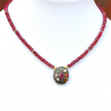 Ruby (India) and Sterling Silver Necklace