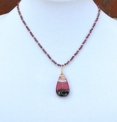 Genuine Murano Glass Pendant and Red Garnet Gold Filled Necklace
