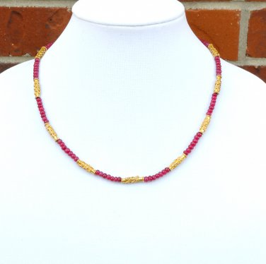 OOAK Ruby and Vermeil Necklace Set