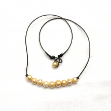 Freshwater Pearls Champagne Color and Black Leather Necklace