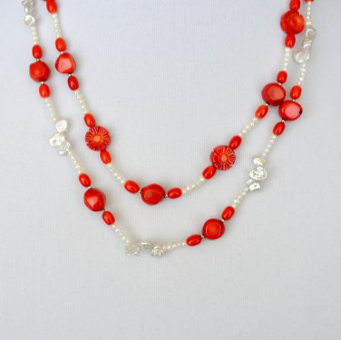 Red Coral, Freshwater Pearls and Sterling Silver Necklace and earrings set