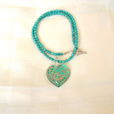 Genuine Murano Glass Pendant and Turquoise Necklace Sterling Silver