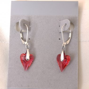 Swarovski Crystals Sterling Silver Leverback Earrings