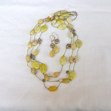 Yellow Opal, Jade and Sterling Silver Necklace and earrings set