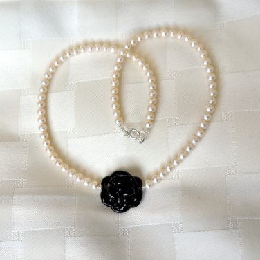 Genuine Murano Glass Black Rose and Freshwater Pearl Sterling Silver Necklace