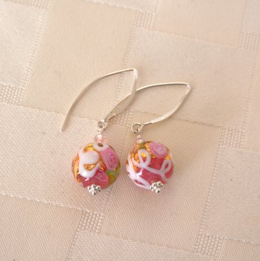 Roses Collection Genuine Murano (Italy) Glass Earrings Sterling Silver