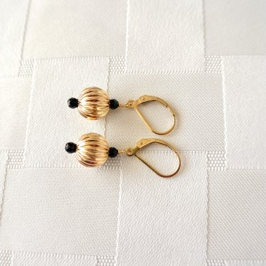 Black Onyx Gold Filled Leverback Earrings