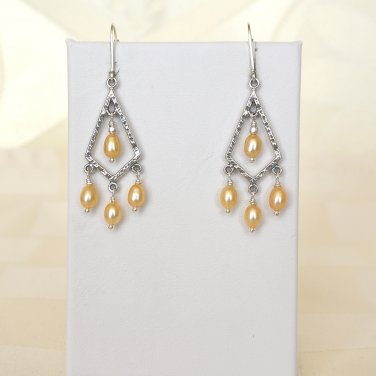 Freshwater Pearl Chandelier Sterling Silver Earrings