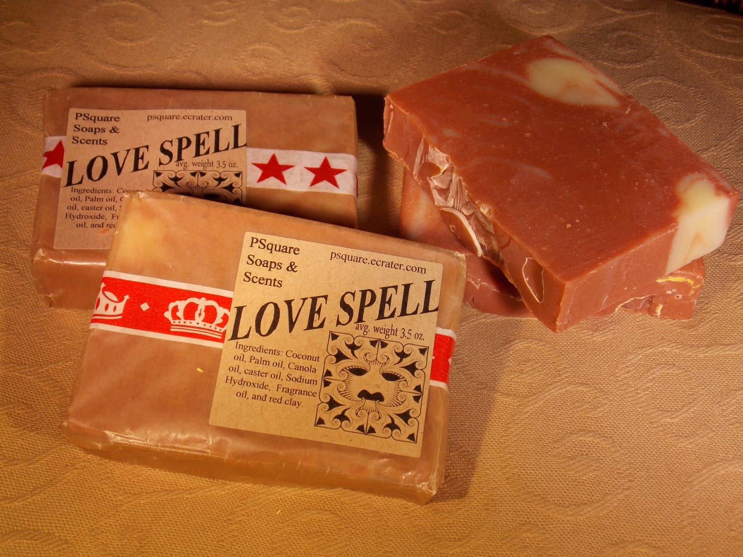 LOVE SPELL (V.S. type) -  Cold Process Soap with Red Clay