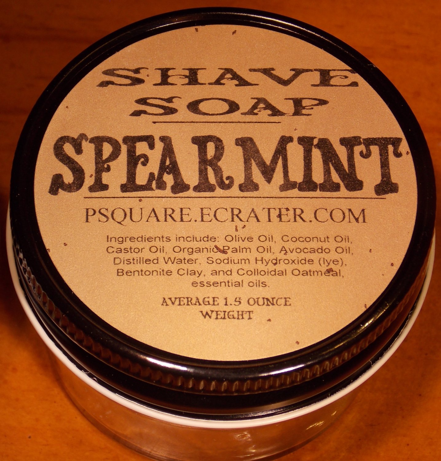 1 - SPEARMINT SHAVE SOAP AND GLASS SHAVE JAR
