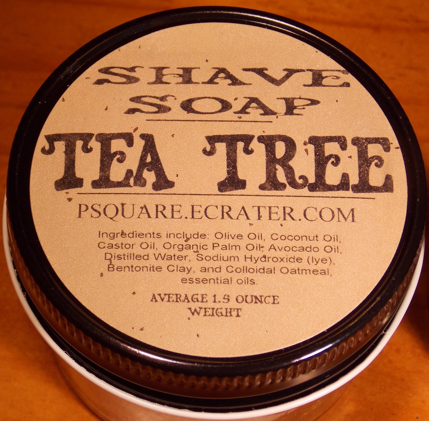 1 - TEA TREE SHAVE SOAP AND GLASS SHAVE JAR