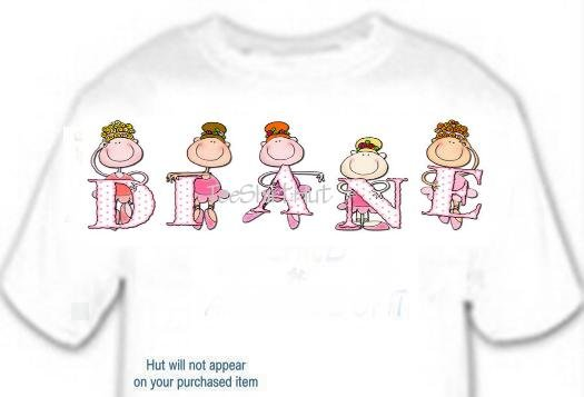 T-shirt, Your Name in BALLERINA, dancer, ballet, (Adult 4xLg - 5xLg)