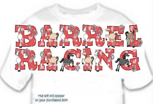 T-Shirt, Your Name in BARREL RACING, horses, (Adult 3 xLg)
