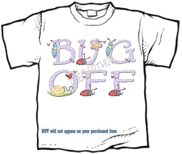 T-shirt, Your NAME in BUGS, snail, ladybugs, BUG OFF - (Adult xxLg)