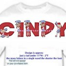 T-shirt - Your Name in CHEERLEADER, banner, HOORAY - (youth & Adult Sm - xLg)