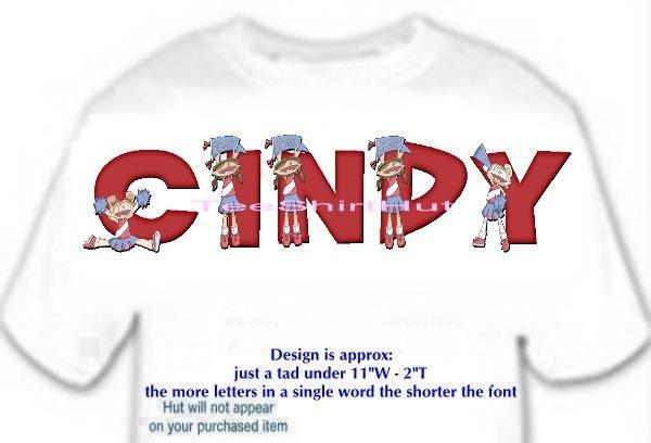 T-shirt - Your Name in CHEERLEADER, banner, HOORAY - (Adult xxLg)